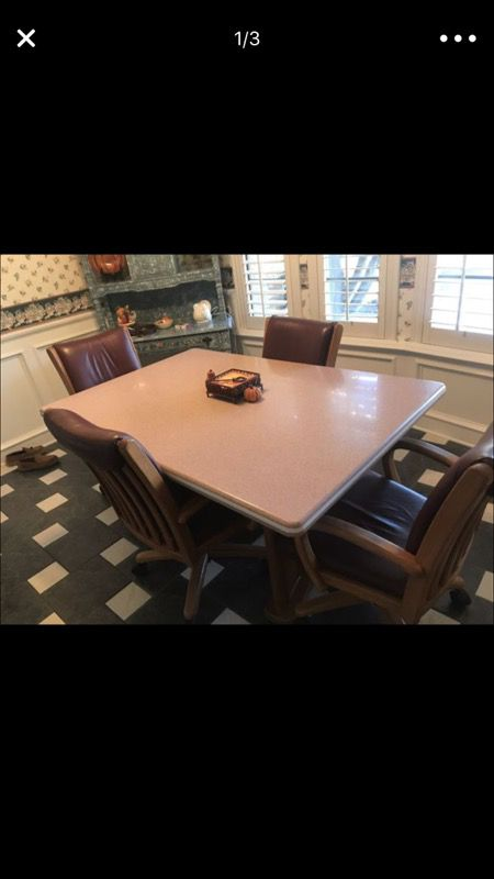 Corian kitchen table with wood base and 4 all leather chairs with corian kitchen table with wood base and 4 all leather chairs with rollers table is watchthetrailerfo