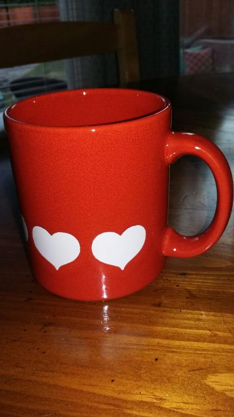 Waechtersbach Hearts Mug Red Orange Made In West Germany