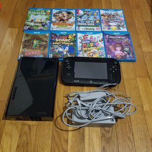 Nintendo Wii U 32 GB Black System w/9 Games Splatoon Super Mario 3d New Super Mario Bros U Luigi U Donkey Kong Super Smash Bros Sonic Zelda Pikmin