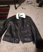 Women's small dark brown motorcycle leather