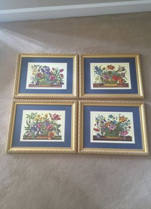 Set of 4 framed Pimpernel placemats. High quality and custom wood frames
