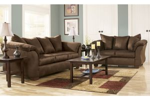 Brand new Cafe color polyester material sofa and loveseat living room set by Ashley Furniture