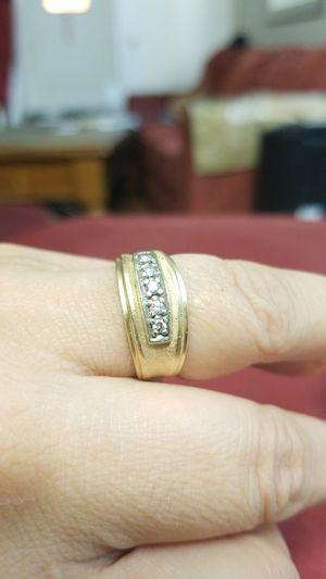 14k gold and daimond mens band