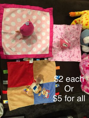 Baby blankets and stuffed animals