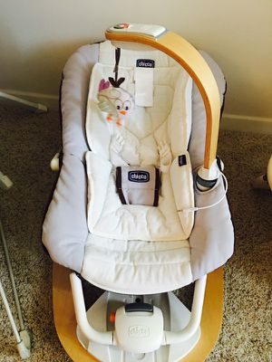 White and grey Chicco bouncer plus free baby walker