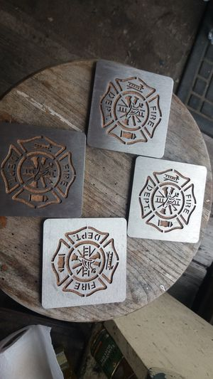 Brass pewter fire coasters