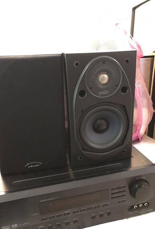 onkyo bookshelf speakers. onkyo 5.1 surround sound receiver and two polk audio bookshelf speakers. speakers