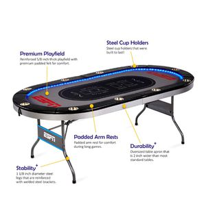 Brand new in box ESPN 10 Player Premium Poker Table with In-Laid LED Lights, No assembly required: