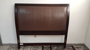 Queen Size Headboard Only Dark Brown Wood and Padded Leather