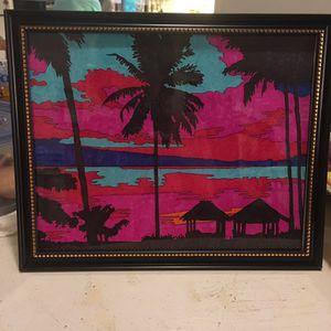 "Framed ""sunset beach"" painting"