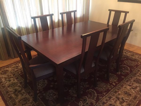 piece solid dark cherry wood dining table and chairs furniture