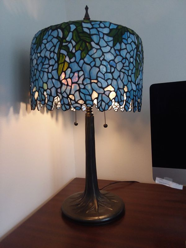 Stained glass tiffany inspired wisteria table lamp with tree trunk stained glass tiffany inspired wisteria table lamp with tree trunk base household in fort wayne in aloadofball Image collections