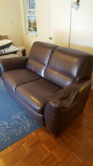 Brown Genuine Leather Loveseat
