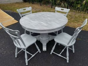 Solid Wood Refinished Shabby Chic Dining Room Table And Chairs