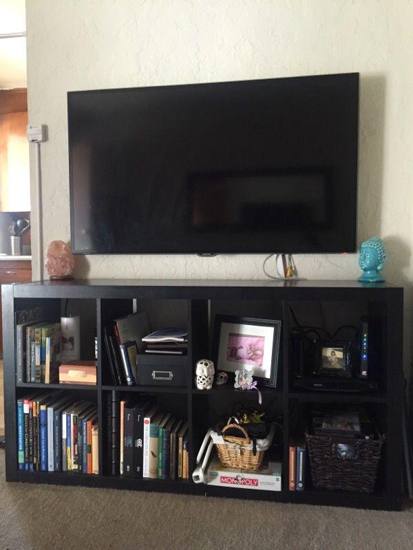 Black ikea 8 cube shelf tv stand bookcase Furniture in San – Tv Stand Bookcase