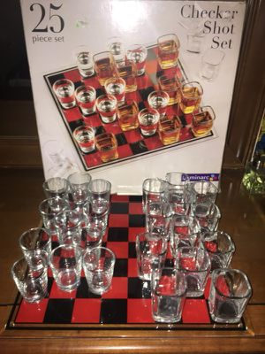 25 piece checkers shot glass and glass board set