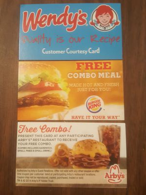 �Burger King, Wendy's, & Arby's Combo Meal Certificates, ($9 value)No Exp. Date�