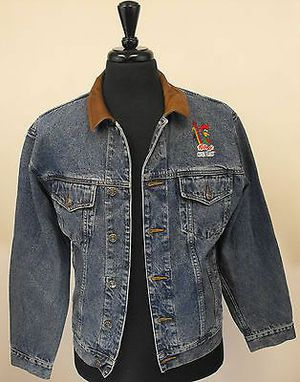 Kellog Corn Flakes Leather Blue Denim Jacket - Size Small