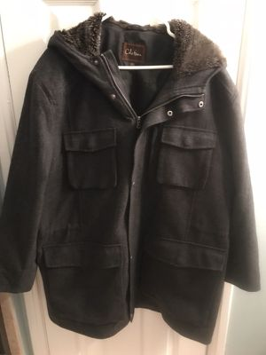 Pre-Owned Men's Cole Haan Wool Jacket w/Faux Fur Hoodie - Size XL