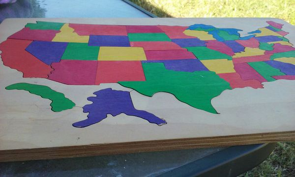 Large Wooden Map Puzzle Of The United States Tells You All Of The - Large wood us map puzzle