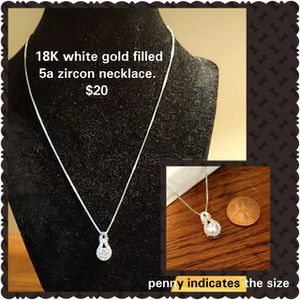 18K white gold filled 5a zircon necklace