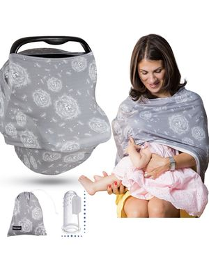 Brand new Premium Multi Use Nursing Breastfeeding Cover Gray and Carseat Canopy Cover. 4 in 1 Baby Car Seat Cover (Winter Grey)