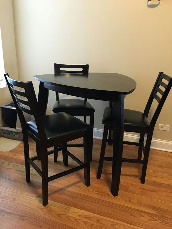 Triangle shape bar height dinette with brown matte finish furniture in chicago il offerup - Triangle counter height dining set ...