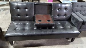 Brand New Black Faux Leather Futon Bed w/Console