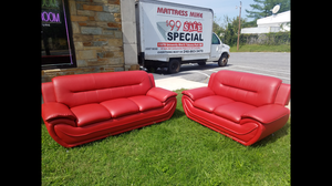 Brand new red color bonded leather sofa and loveseat living room set
