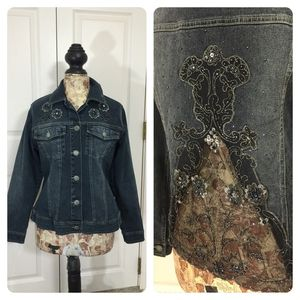 Colleen Lopez My Favorite Things denim jacket size large