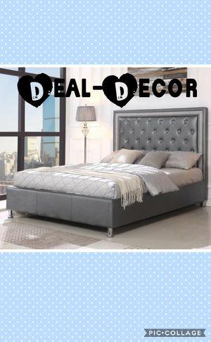 Gray Leather Platform Bed