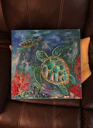 Painting for kids room, sea turtles, mixed media