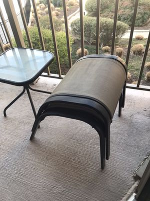PATIO TABLE & 2 FOOTSTOOLS FOR SALE