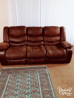 3 seater reclinable sofa with 2 coffee tables