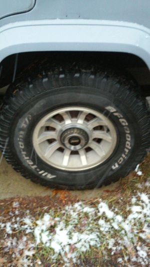 "I have 5 31-10-50 bf Goodrich all terrain 15"" on jeep wheels like new tires"