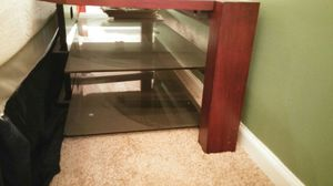 Cherry Hardwood and Glass TV Center up to 70 inch TV