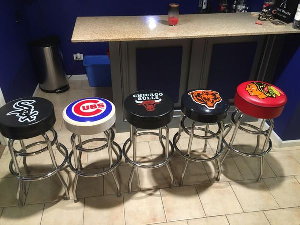 Set Of 5 Chicago Sports Teams Bar Stools Furniture In