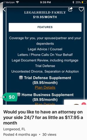 Awesome legal presentation 24/7 ! Have an attorney on your side 24/7 for as little as $19.99