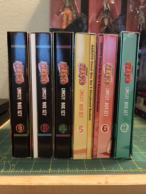 Naruto uncut box set dvds Volumes 1, 3-6 & 9 3 discs per box set , 18 discs total, only 3 story board books included , no other extras or headbands
