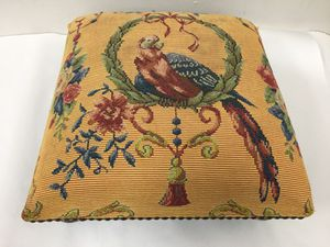 Low ottoman with parrot and flowers, needle point upholstery 15 X 15 Height 6