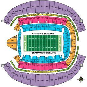 Two Seattle Seahawks Tickets Section 332 AA Seats 1/2