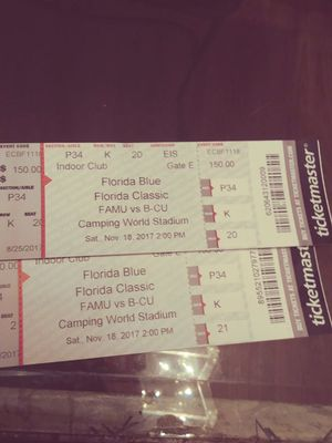 2 Florida Blue Classic FAMU vs. B-CU. Camping World Indoor Club Tickets