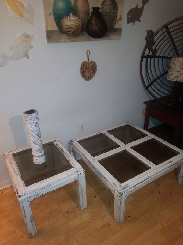 Refinished wood glass top coffee tableside table and candle holder