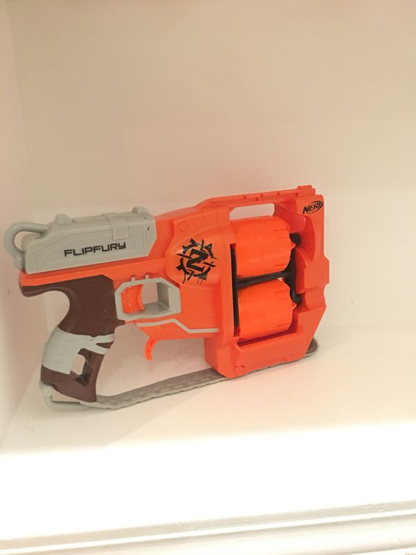 Dart Gun Nerf Guns N-Strike Zombie Strike Flipfury Blaster Double Barrel  Orange