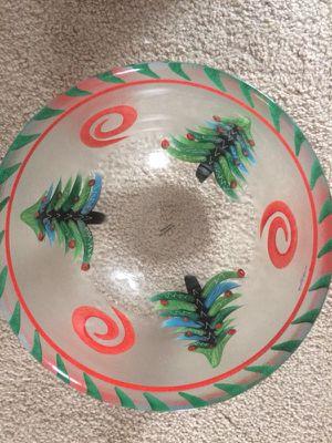 Swedish Kosta Boda handpaonted glass bowl. Holiday motif. Perfect condition.