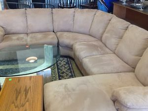 Curved microsuede beige sectional sofa