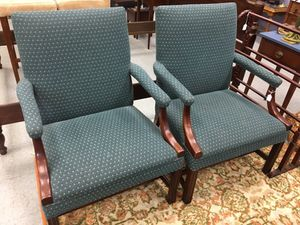 Pair comfortable arms chairs, sturdy mahogany frame