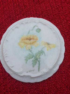 Antique Hand Painted Yellow Poppy Porcelain Signed Trivet