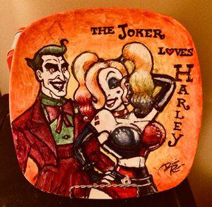 Joker Loves Harley: Hand-painted Ceramic Plate