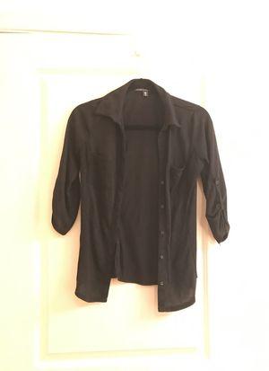 Black button up 3/4 sleeve cotton blouse